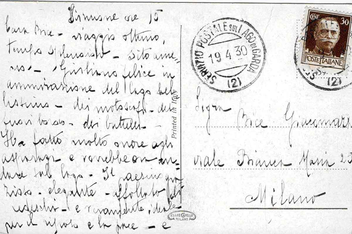 Quando c'era il Servizio Postale sul lago di Garda