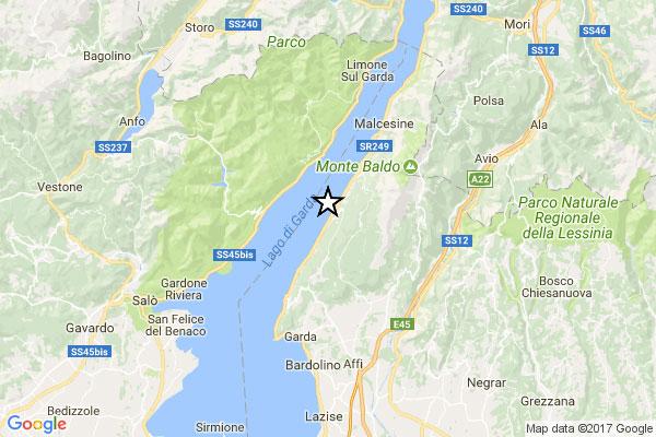 Terremoto di magnitudo 3,6. Epicentro a San Zeno di Montagna